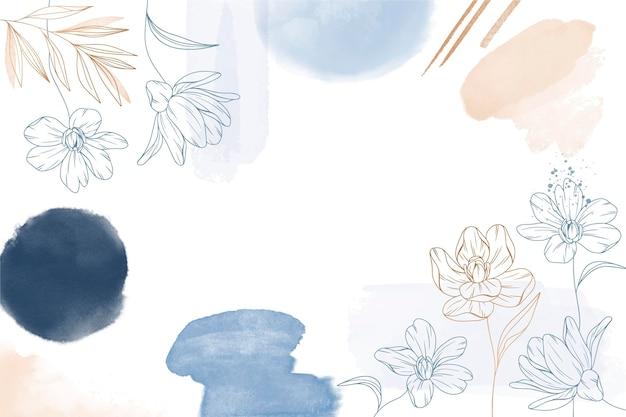 Fundo floral desenhado à mão em aquarela