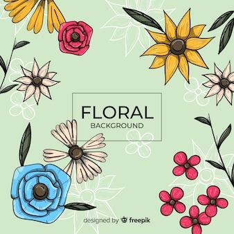 Fundo floral desenhado a mão
