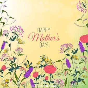 Fundo floral desenhado de dia das mães mão