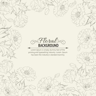 Fundo floral desenhado mão
