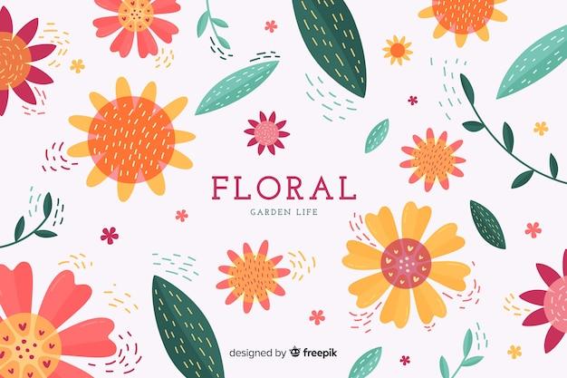 Fundo floral design plano colorido