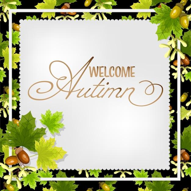 Fundo floral do outono com texto bem-vindo do outono.