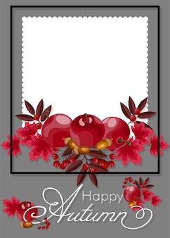 Fundo floral do outono com texto feliz do outono.