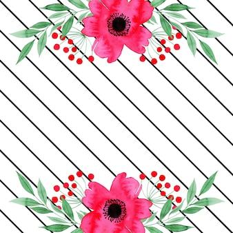 Fundo floral dos namorados em aquarela com listras