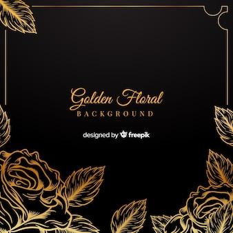 Fundo floral dourado de mão desenhada