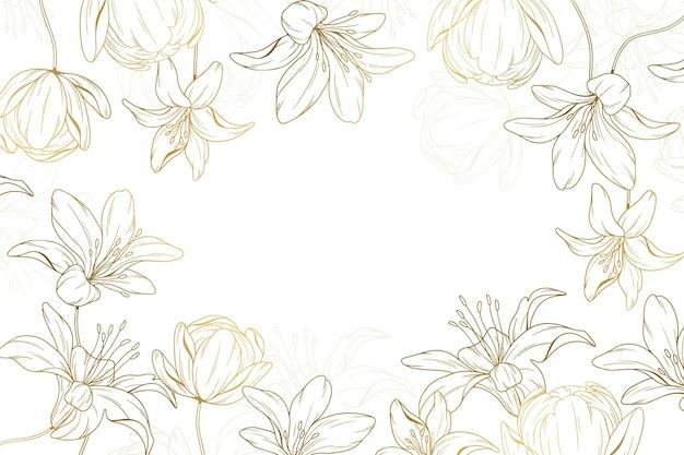 Fundo floral dourado desenhado à mão