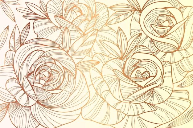 Fundo floral dourado gradiente