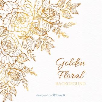 Fundo floral dourado