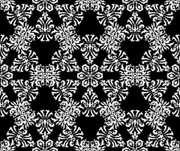 Fundo floral elegante padrão de damasco rico sem costura gráfico de vetor de cor preto e branco