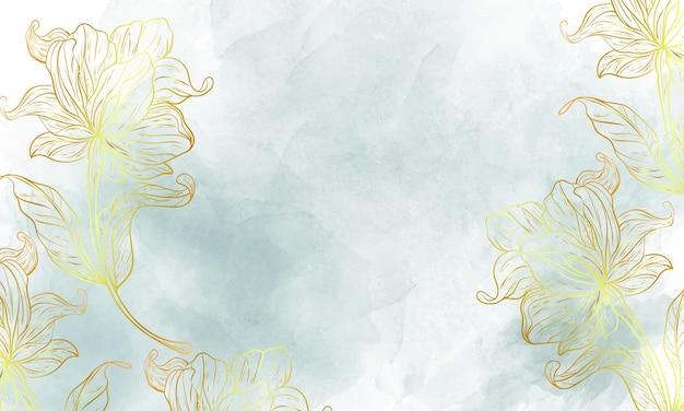 Fundo floral em aquarela com flor desenhada à mão dourada