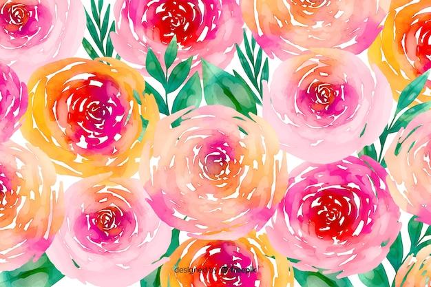 Fundo floral em aquarela de flores e folhagem