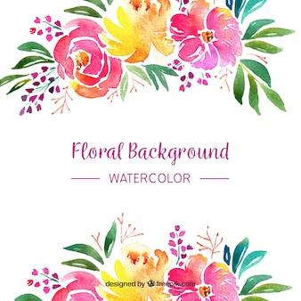 Fundo floral em estilo aquarela
