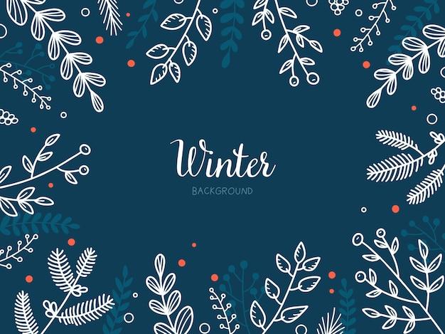 Fundo floral escuro de inverno natal