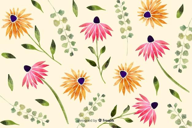 Fundo floral estilo aquarela