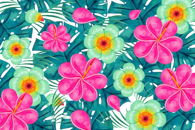 Fundo floral exótico colorido