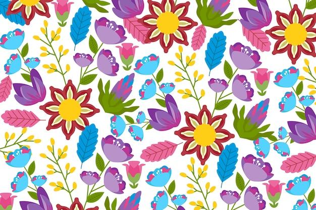 Fundo floral exótico e colorido