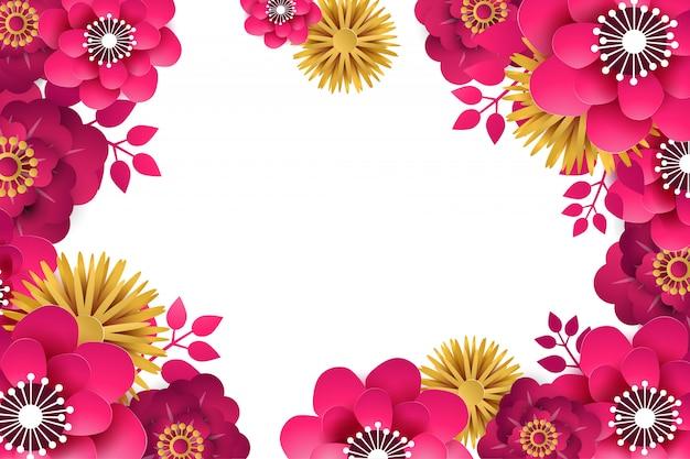 Fundo floral flores de primavera brilhante com um efeito de corte de papel. quadro de flor para o projeto.