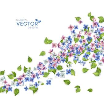 Fundo floral. flores e folhas voando