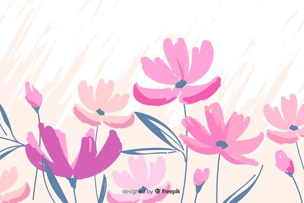 Fundo floral fofo de pintados à mão