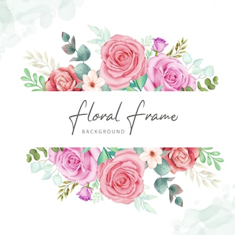 Fundo floral frame com aquarela colorida