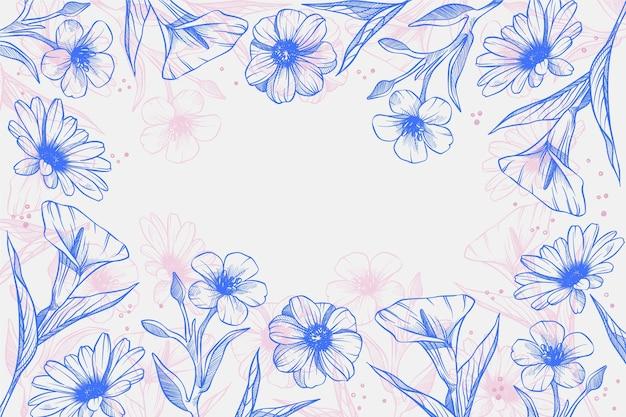 Fundo floral gravado linear desenhado à mão