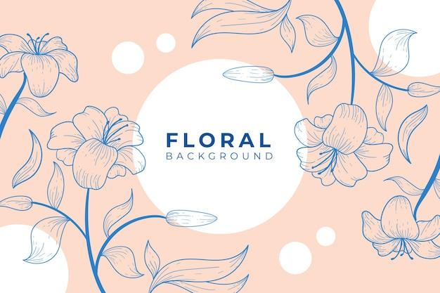 Fundo floral lindo e elegante com estilo de contorno