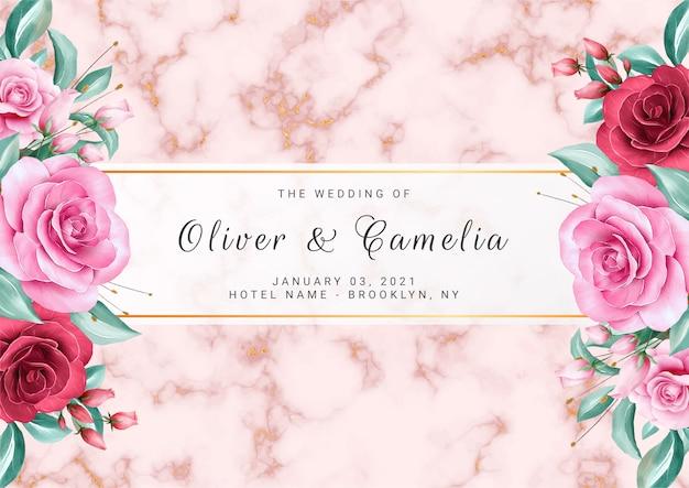 Fundo floral luxo para modelo de cartão de convite de casamento com texturas de mármore ouro