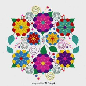 Fundo floral mexicano bordado colorido