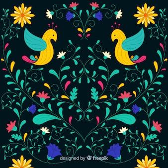Fundo floral mexicano colorido do bordado