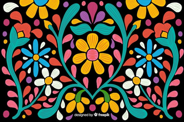 Fundo floral mexicano do bordado