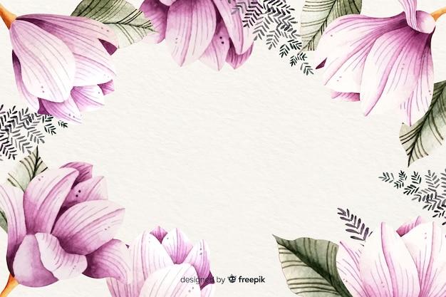 Fundo floral moldura aquarela