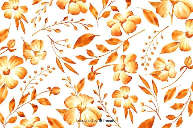Fundo floral monocromático em aquarela