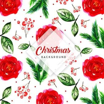 Fundo floral natal aquarela