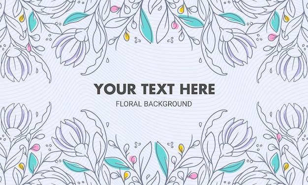 Fundo floral natural simétrico colorido desenhado à mão