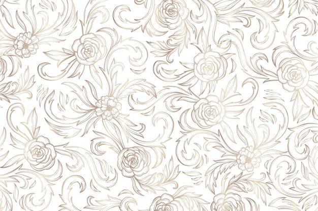 Fundo floral ornamental dourado simples
