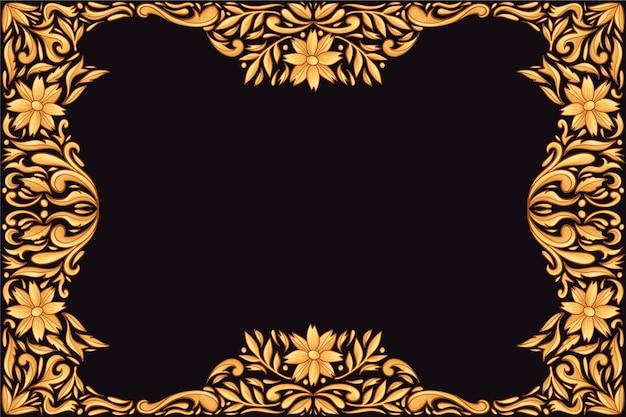 Fundo floral ornamental dourado