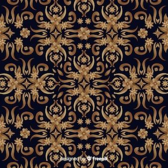 Fundo floral ornamental elegante dourado