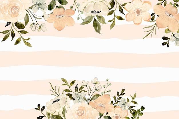 Fundo floral pêssego branco com aquarela