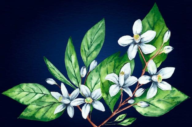 Fundo floral pintado à mão realista