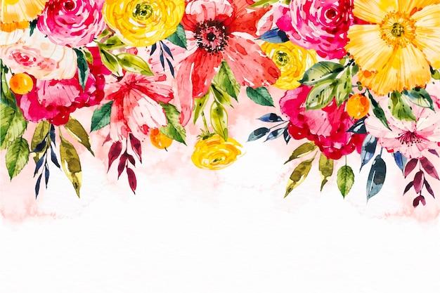 Fundo floral pintado à mão