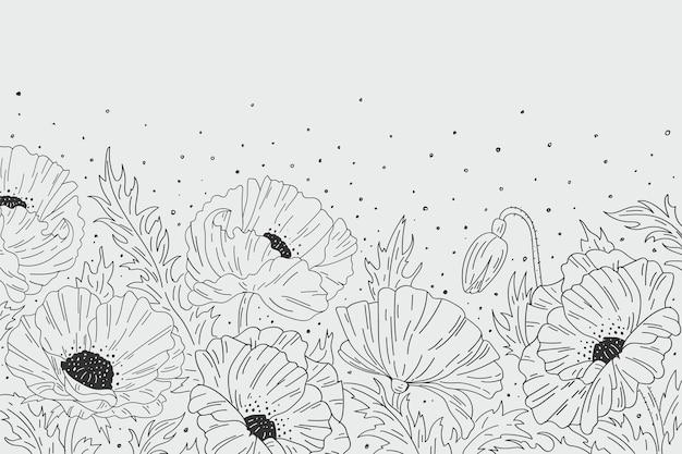 Fundo floral preto e branco