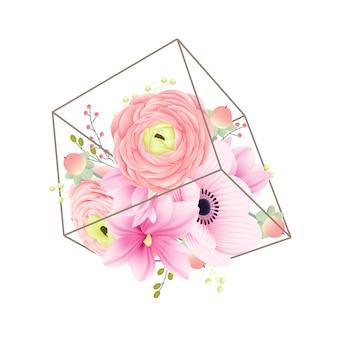 Fundo floral ranúnculo magnólia e anêmona flores