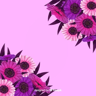 Fundo floral rosa com girassóis