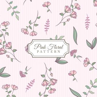 Fundo floral rosa de mão desenhada