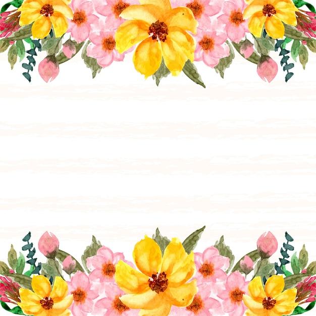 Fundo floral rosa e amarelo romântico