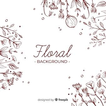 Fundo floral simples mão desenhada