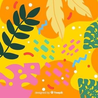 Fundo floral tropical de mão desenhada