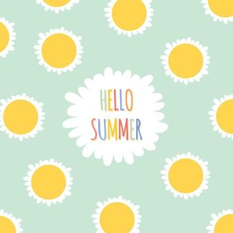 Fundo floral verão e banner em estilo cartoon plano com margaridas