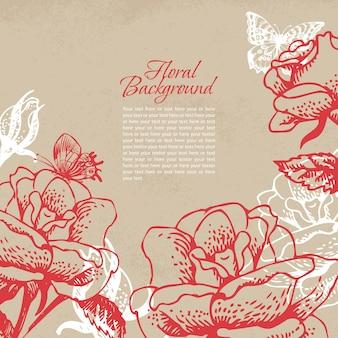 Fundo floral vintage com borboletas