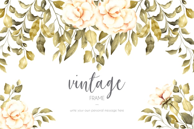 Fundo floral vintage com lindas flores
